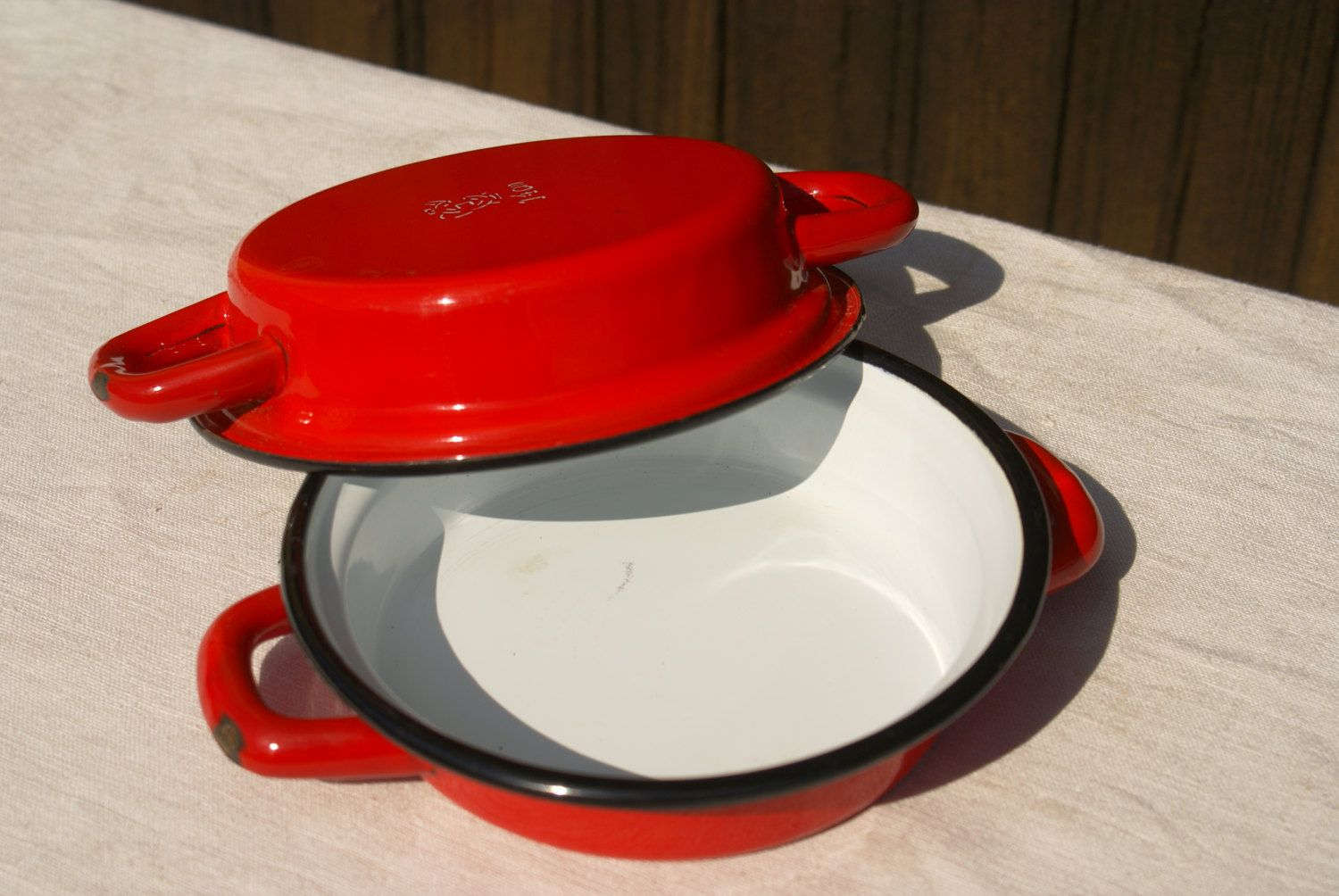 Red Enamel Gratin Dishes, Pair - Vintage French by UneChoseFrancaise on Etsy