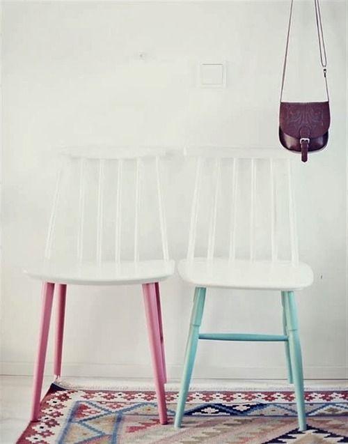 Sillas con patas pintadas Muebles restaurados ideas Pinterest - sillas de playa