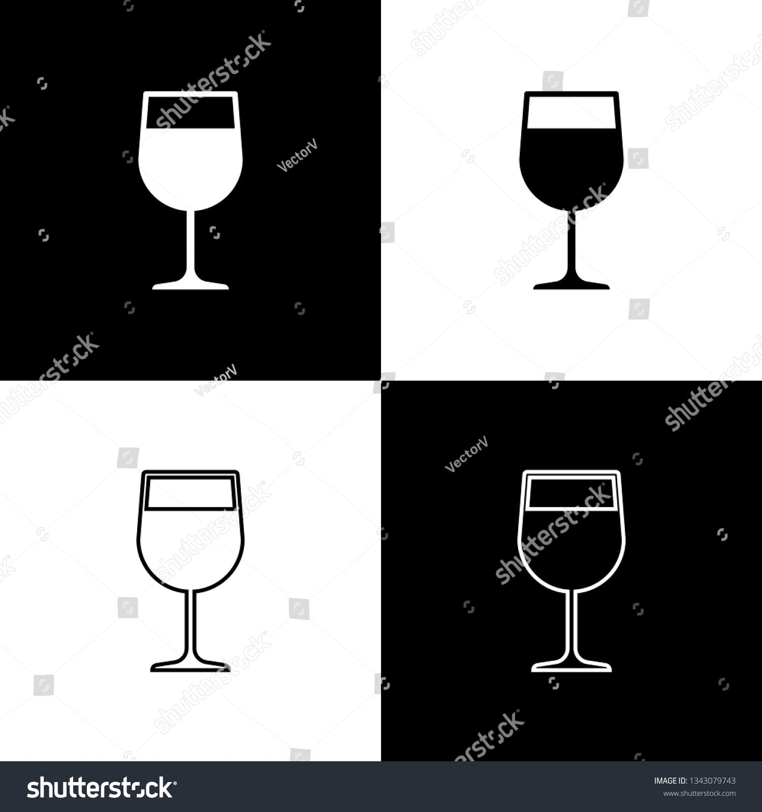 Set Wine Glass Icons Isolated On Black And White Background