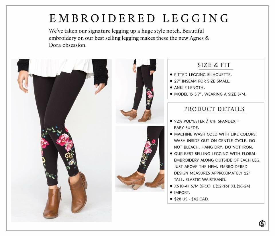 Agnes Dora Embroidered Leggings Size Chart Agnes Dora Love