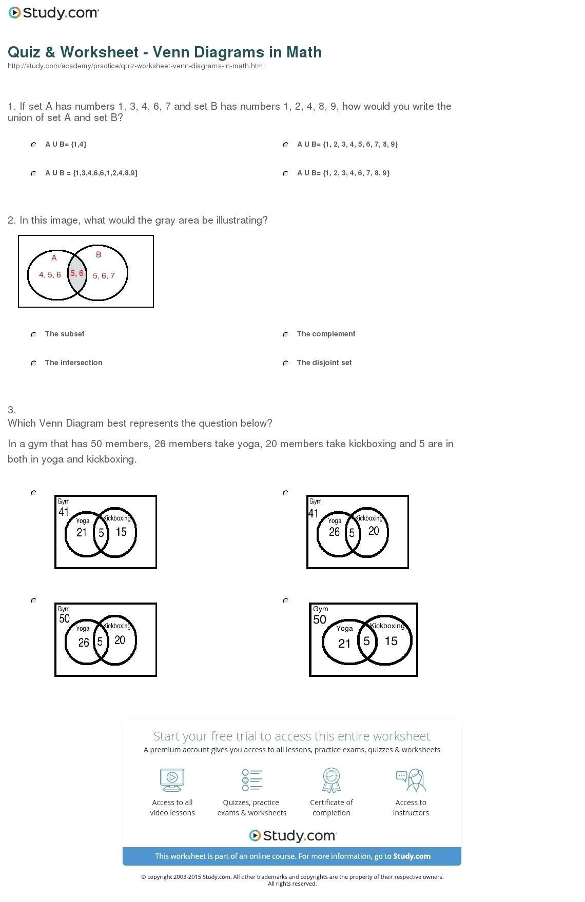 Probability Worksheet 7th Grade Venn Diagram Probability