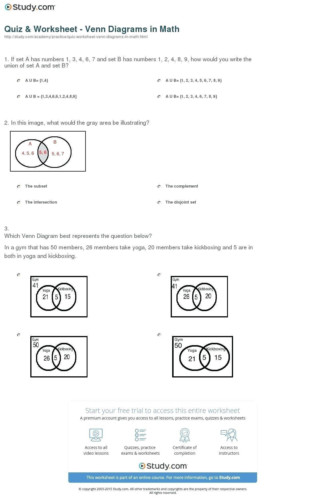 Probability Worksheet 7th Grade Venn Diagram Probability