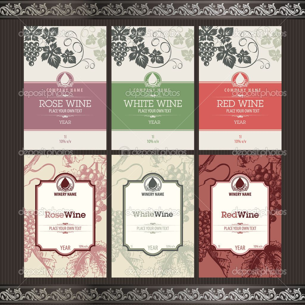 Label Template Vector Illustration Set Of Wine Label Templates