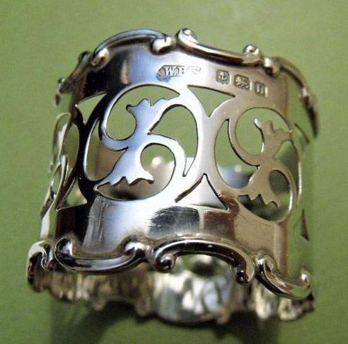 English Sterling silver pierced napkin ring, maker's mark William Henry Sparrow, Birmingham, 1912