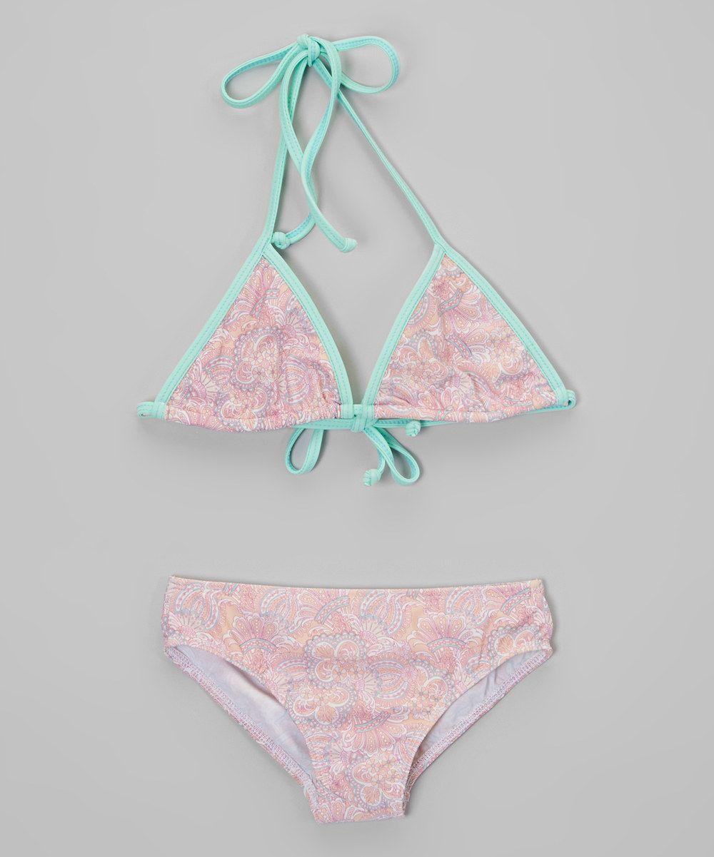 819bc158cb24a Girls Peach Paisley Triangle Bikini From Dippin Daisy Swimwear via Arketa  Bikini. Click on the image to see more!