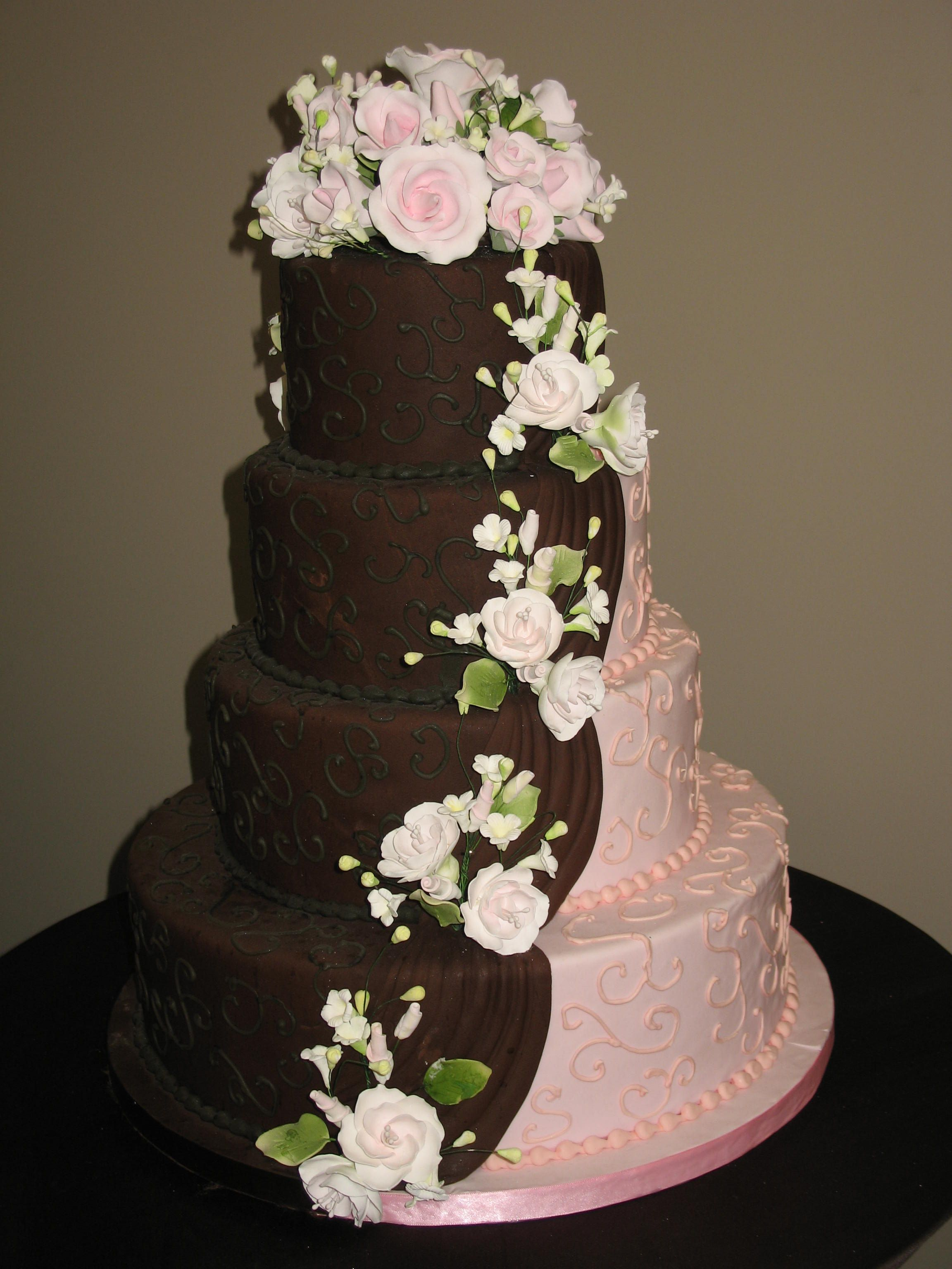 Pink And Brown Wedding Cake Www.cheesecakeetc.biz Wedding Cakes Charlotte NC