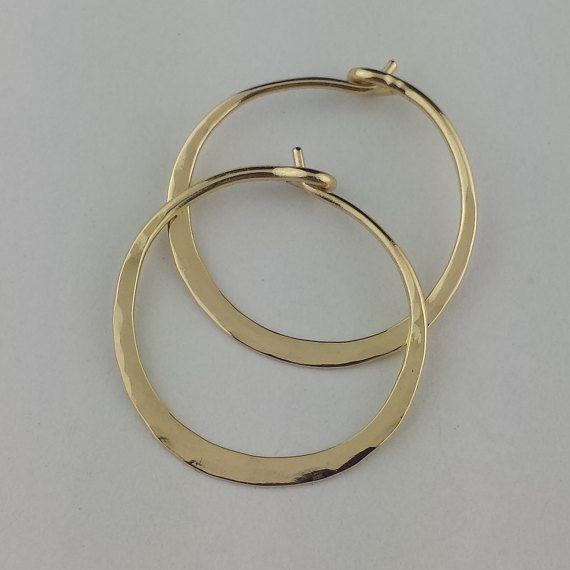 14k Solid Gold Hammered Hoop Earrings Hoops Thick