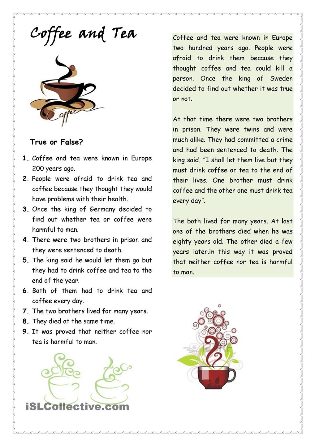 Tea And Coffee Reading Comprehension Reading Comprehension Worksheets English Lessons Reading texts for pre intermediate