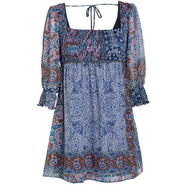 Kyra Paisely Tunic (85 RON) ❤ liked on Polyvore featuring tops, tunics, dresses, shirts, shirts & blouses, blue shirt, 3/4 sleeve shirts, three quarter sleeve tops, blue paisley shirt and tie shirt