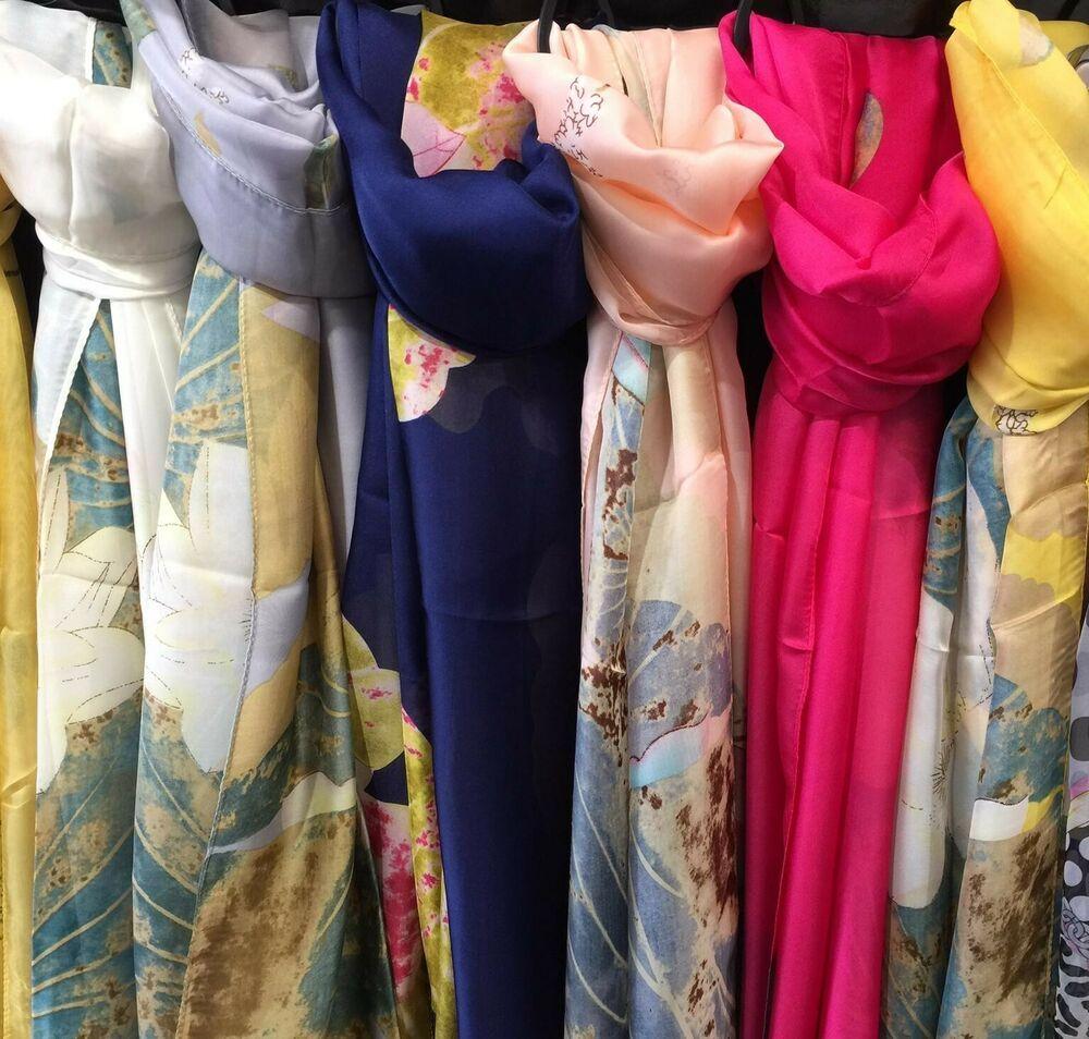 Women Fashion Multicoloured Silk Style Flower Print Long Scarf Shawl Wrap Stole