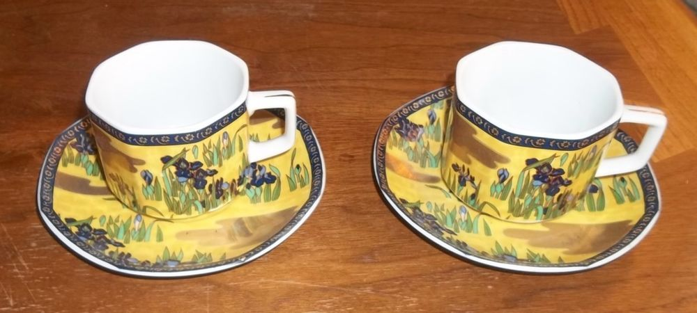 Vintage 1979 Purple Iris & Gold 2 Cups & Saucers China Enesco Unusual