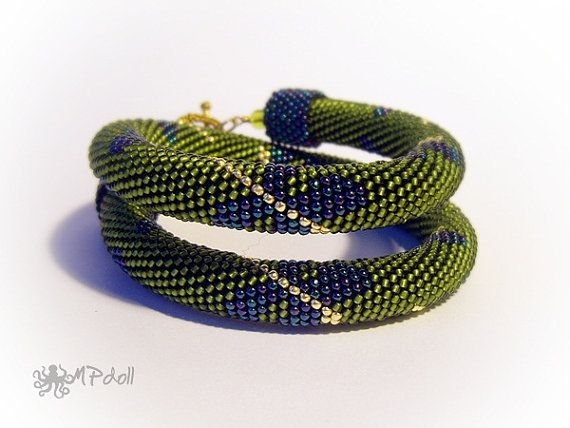 Dragonflies Bead Crochet Necklace Green Gold Dragonfly by MPdoll