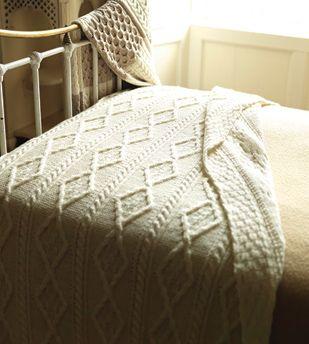 Aran Knit Throw Blanket - Made in Ireland