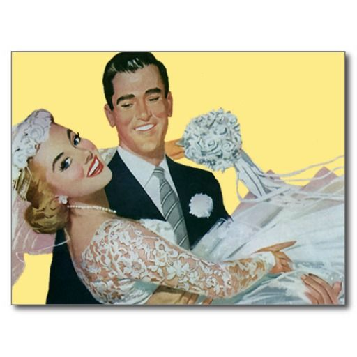 Easy to customize save the date postcard! Just add your names and the date! <br><br>Vintage illustration love and romance wedding image featuring a handsome groom carrying his beautiful newlywed bride. Fun retro 50s design!