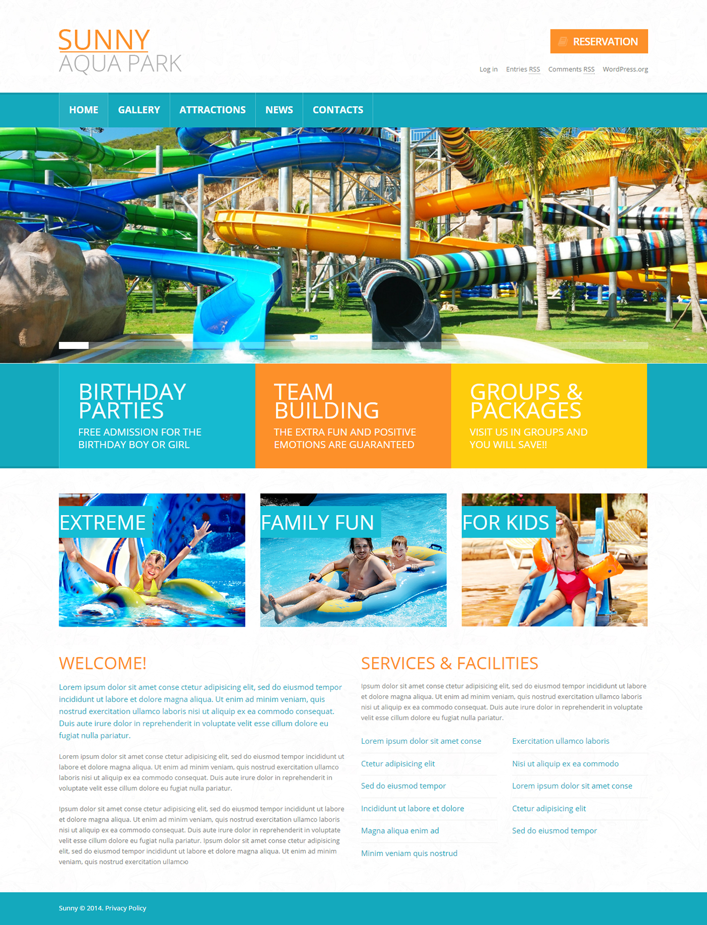 Water park wordpress theme on behance wordpress themes pinterest water park wordpress theme on behance maxwellsz