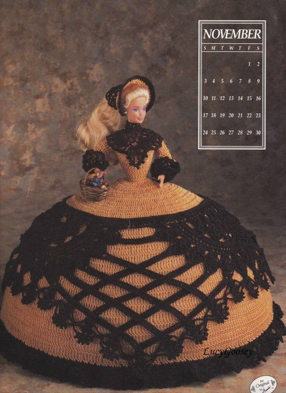 Miss August 1991 Antebellum Bed Doll Outfit firs Barbie Crochet Pattern Leaflet