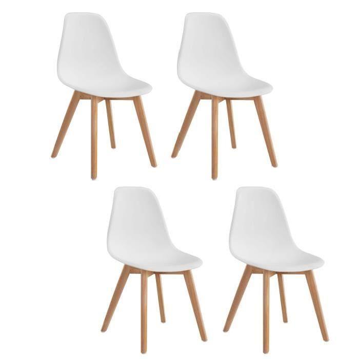 CHAISE SACHA Lot de 4 chaises de salle à manger scandinaves - Blanc