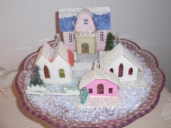 Vintage Cardboard Christmas Glitter Houses On Cake Stand Vintage Christmas Crafts Vintage Style Christmas Decorations Christmas Decorations