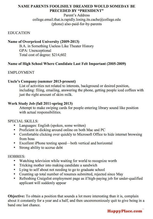 A Resume Template For Every Unemployed Recent College Grad | Happy