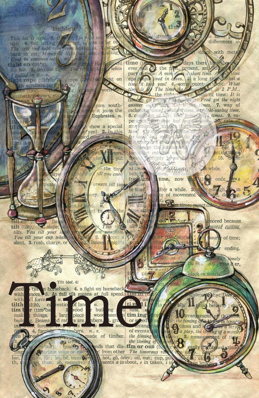 Old Clocks Drawn On Distressed Dictionary Page Prints