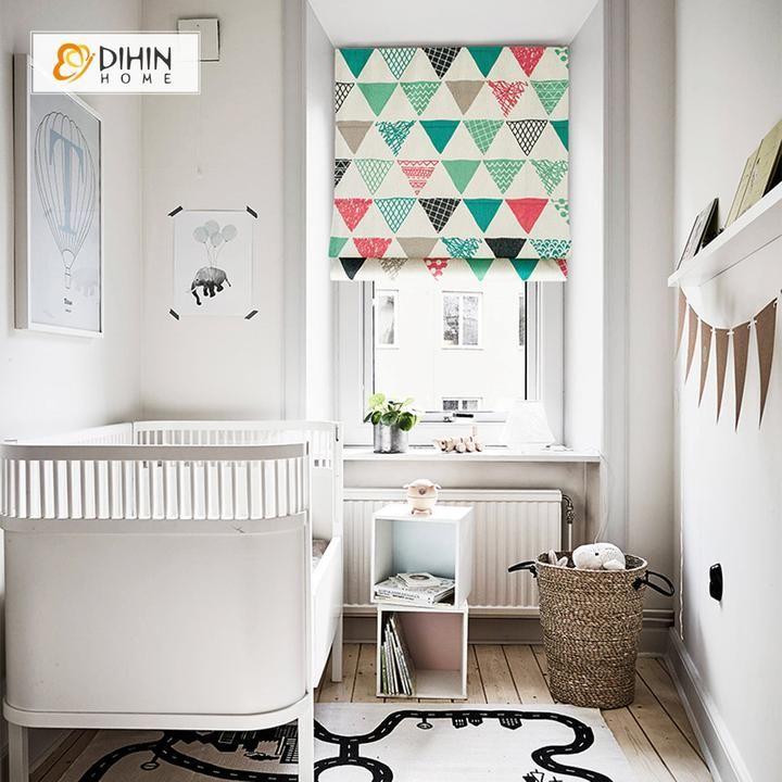 DIHIN HOME Colorful Triangle Printed Roman Shades ,Easy