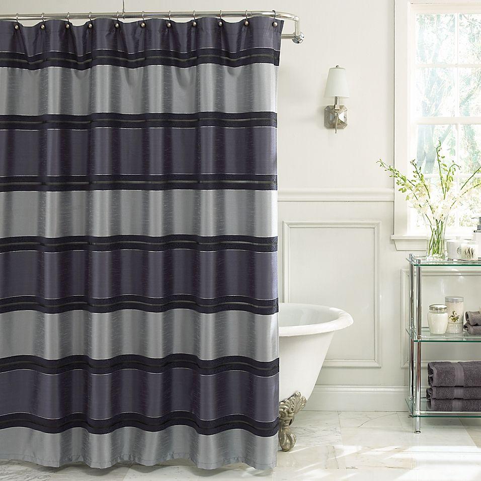 jardin stripe fabric shower curtain in