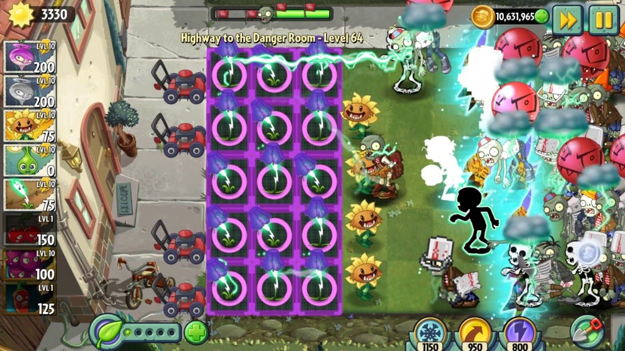 Level 64 Plant Vs Zombie Endless Highway To Danger Room Plants Vs Zombies Games For Kids Neon Signs