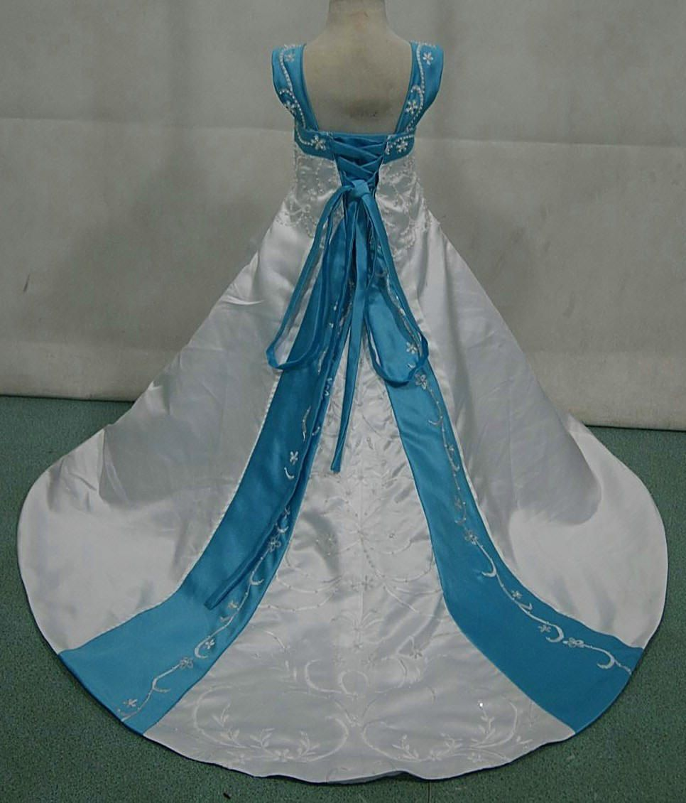 White and blue wedding dress  white and pool blue miniature wedding gown with corset lace up back