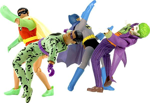 Mego Batman and Robin fight the Joker and the Riddler
