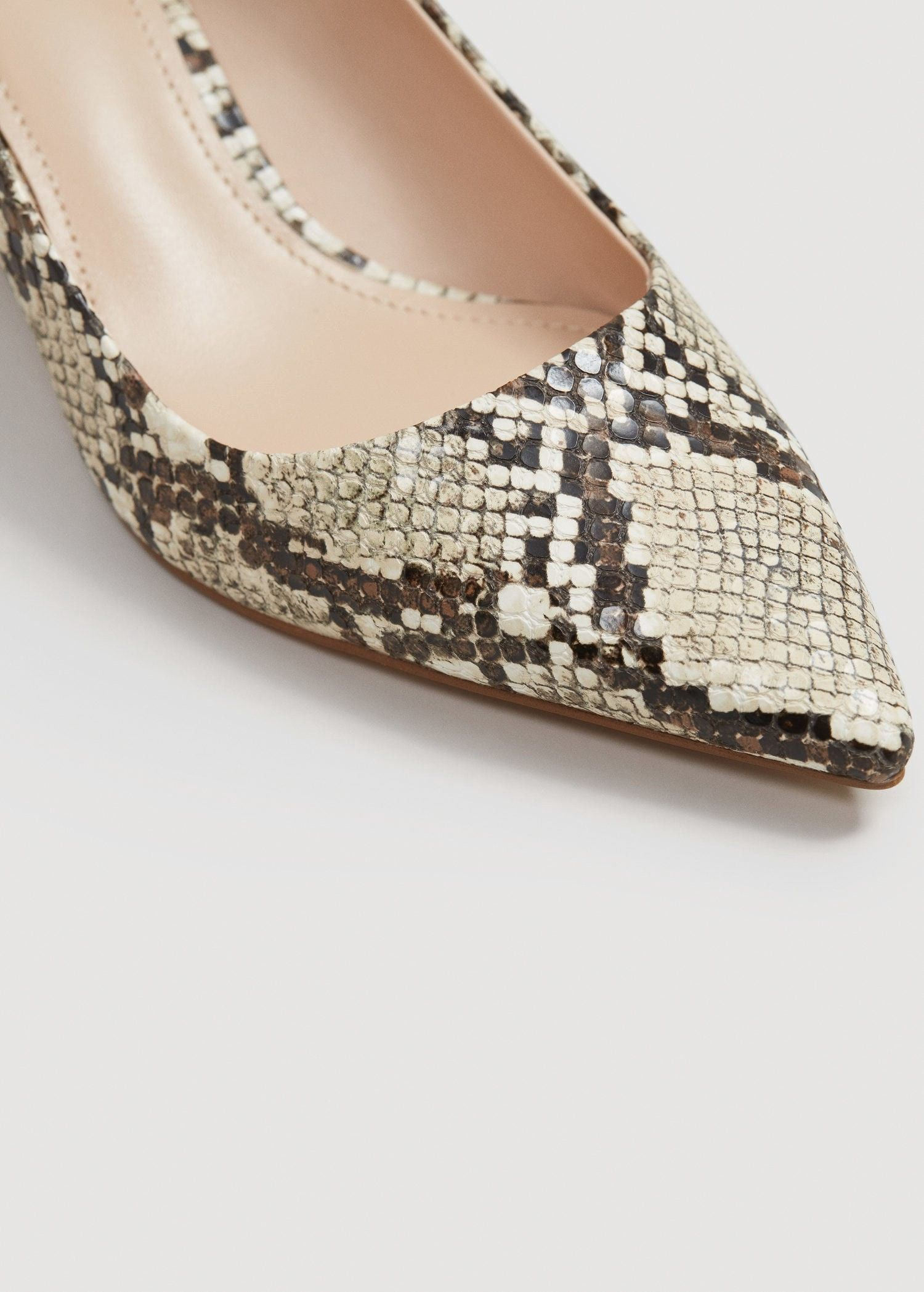 611d6ec96822 Mango Snakeskin Print Heeled Shoes - 8½