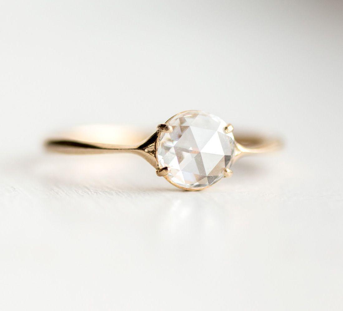 Rose Cut White Diamond Corset Ring In 14k Yellow Gold By Melanie