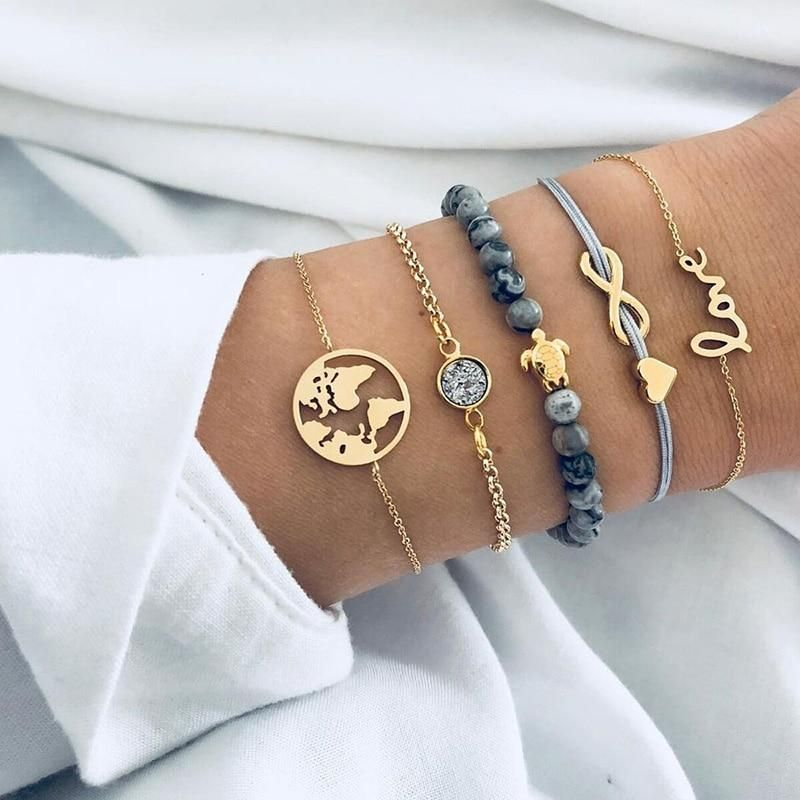 Remember to go out of your comfort zone with this BOHO Bracelet Set. The world is yours to explore Size : Adjustable, one size fits all 10% of profits are donated 5 Part Bracelet Set