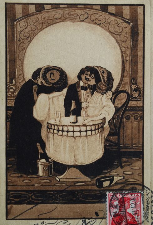 Lovers Morphing Into A Skull French Postcard c.1912