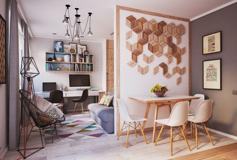 Wohnideen Kleine Räume wohnideen für kleine räume wohnzimmer trennwand esszimmer holz deko