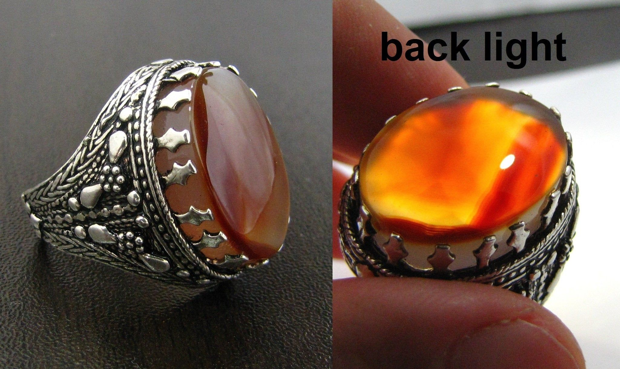 Artisenal silver ring with genuine Yemeni colorful agate