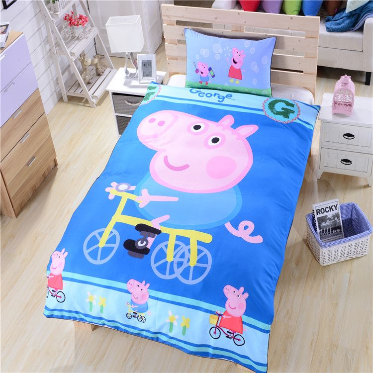 Peppa Pig and GEORGE PIG BOYS BEDDING SET and CURTAINS Light Blue