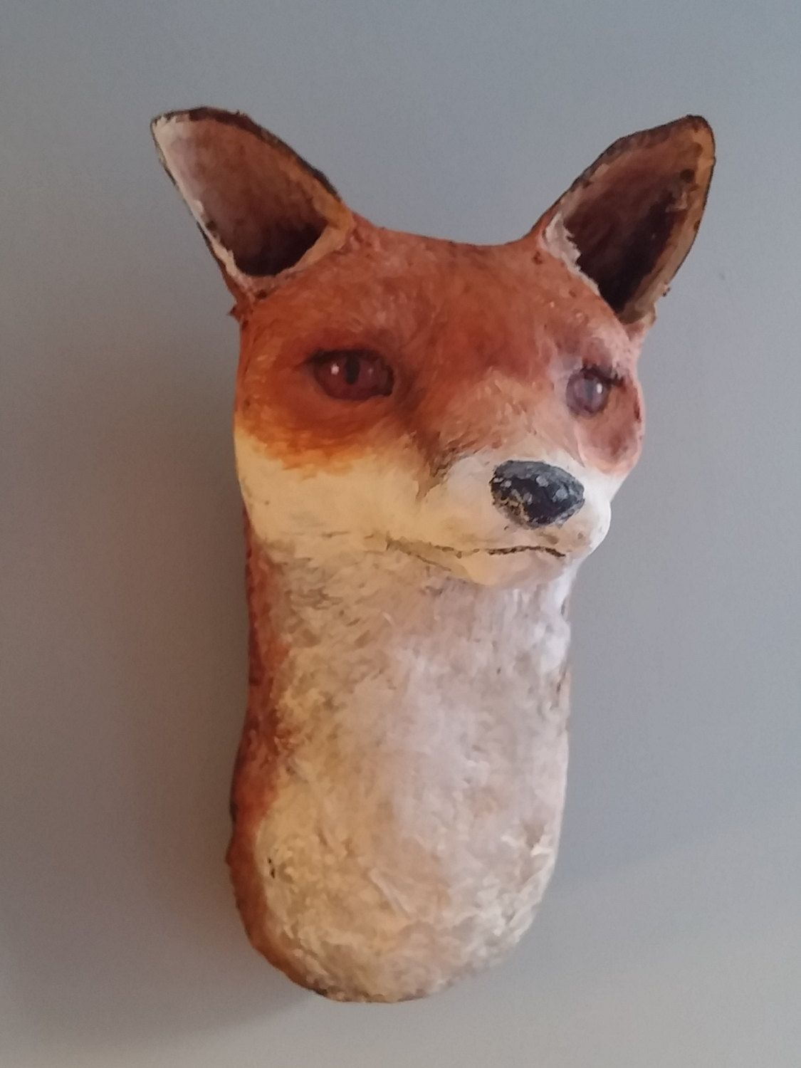 Friendly Taxidermy Fox Head Made From Paper Mache Clay By