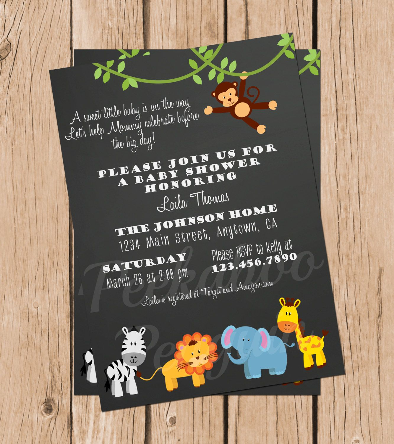 Jungle Baby Shower Invitations, Safari Baby Shower, Chalkboard ...