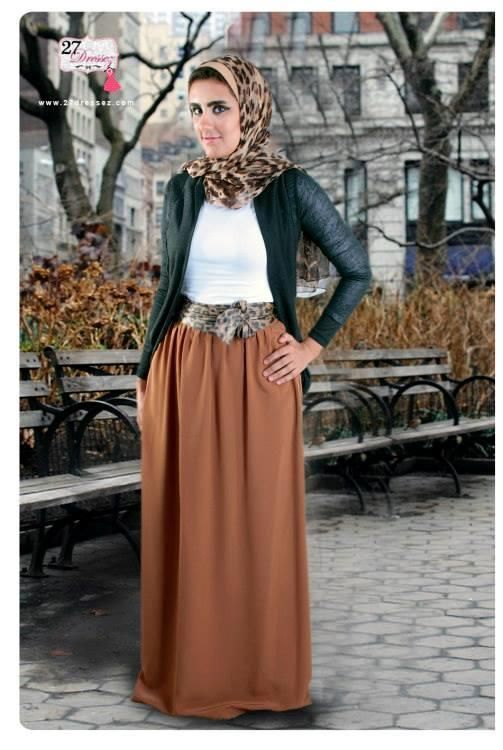 brown maxi skirt Spring floral maxi skirts with hijab http://www ...