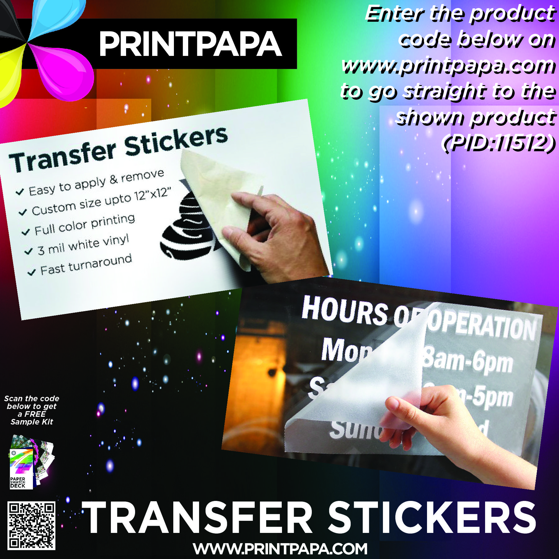 Our transfer stickers are made by printing your design in full color on 3 mil white