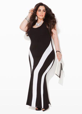 7713f824046 Ashley Stewart Colorblock Maxi Dress Black   White Striped Slimming Panel  Dress  UNIQUE WOMENS FASHION