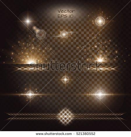 Lens flare vector. Lightning background gold bokeh