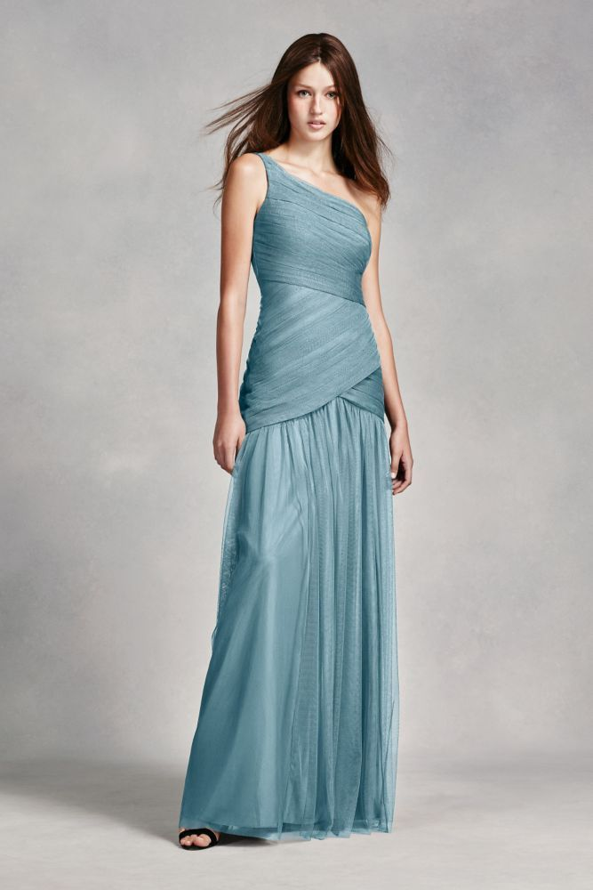 37d06892b1b Net White By Vera One Shoulder Illusion Bridesmaid Dress Mist