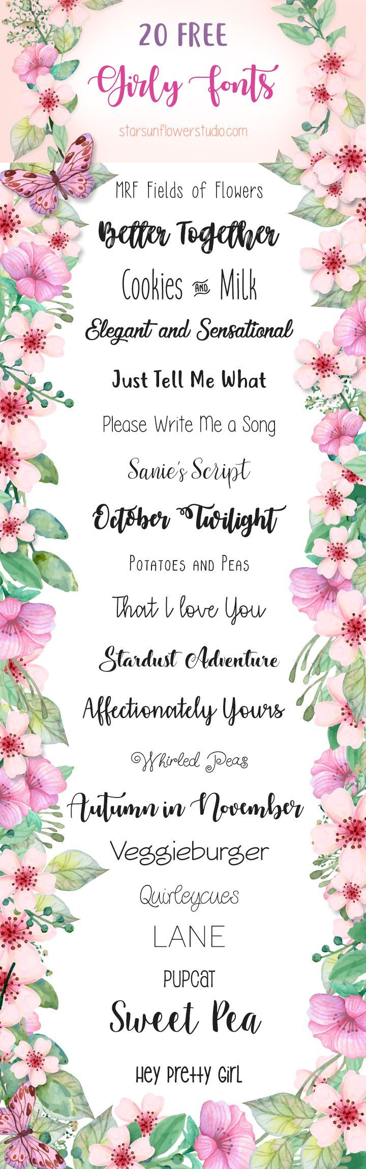 Free Cute Girly Fonts  HttpBlogStarsunflowerstudioCom
