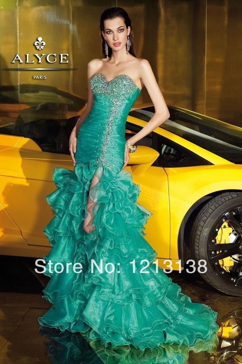 Green Bead Split Layered Lady Pageant Dress Formal Party Evening ...