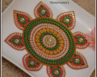 Mandala floor art kundan rangoli design by for Floor rangoli design