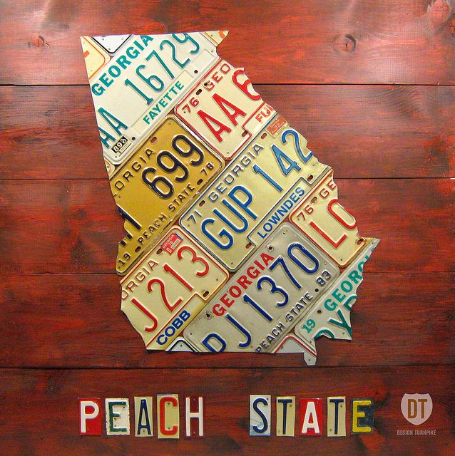 Georgia The Peach State Vintage License Plate Map Art Print By Design Turnpike