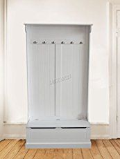 FoxHunter Wooden Shoe Storage Cabinet Bench With Coat Hanging Hook Footwear Stand Rack Unit Cupboard Hallway Furniture Organizer SCW08 White New
