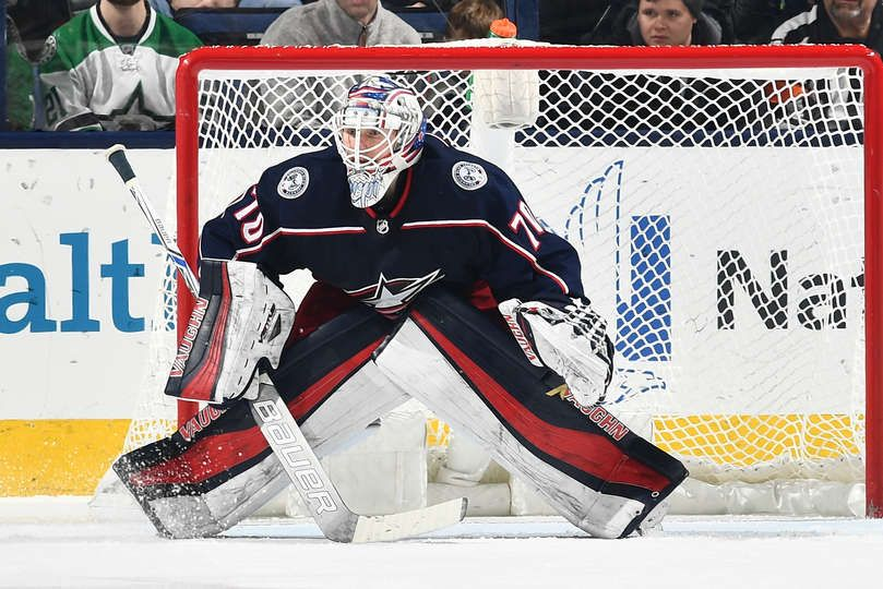 COLUMBUS, OH - JANUARY 18: Goaltender Joonas Korpisalo #70 of the Columbus Blue Jackets defends the net against the Dallas Stars on January 18, 2018 at Nationwide Arena in Columbus, Ohio. (Photo by Jamie Sabau/NHLI via Getty Images)