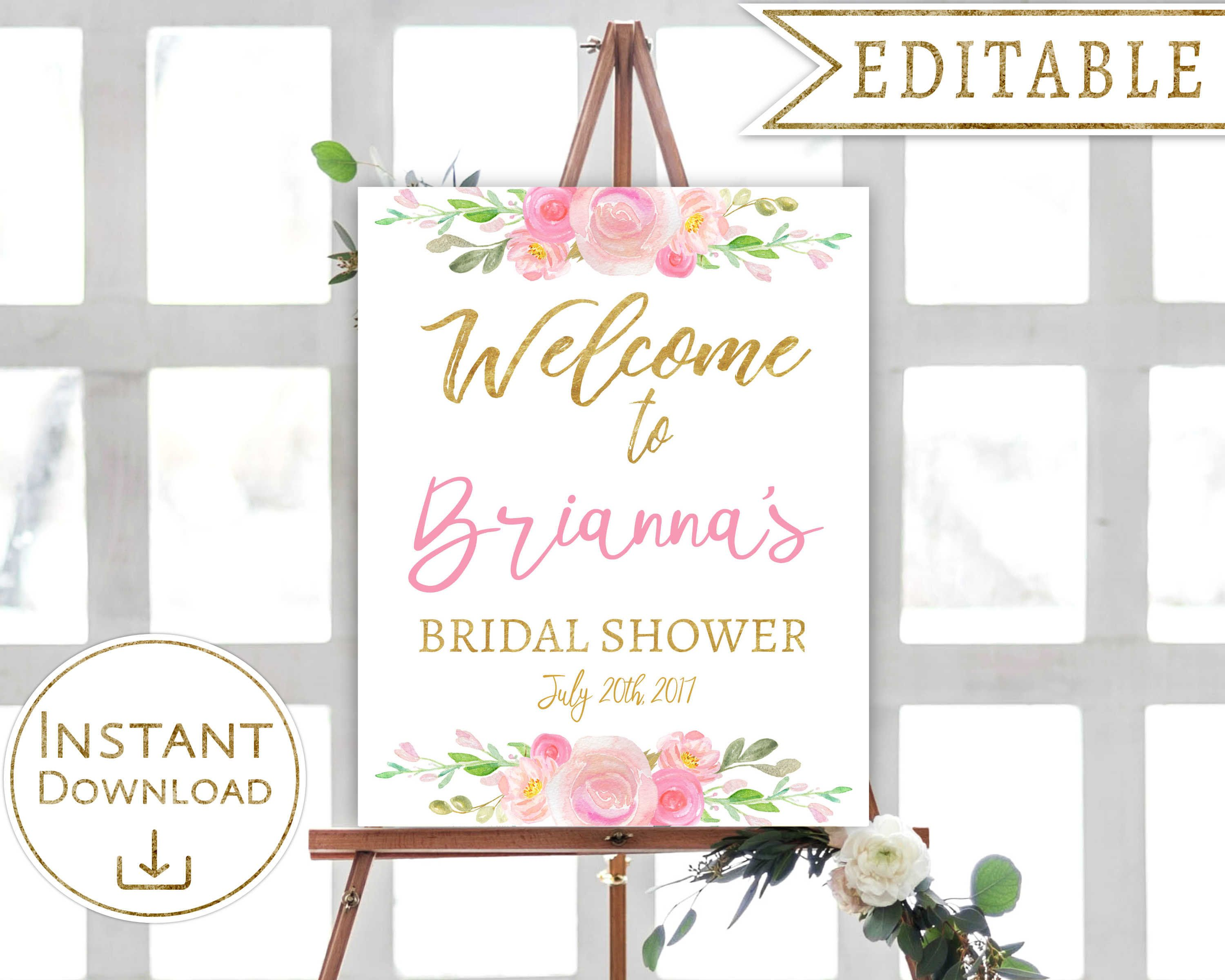 Bridal Shower Welcome Sign Floral Blush Pink Gold Watercolor ...